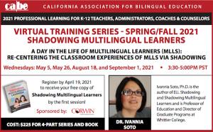 <b>SESSION 3</b>: VIRTUAL TRAINING SERIES - SHADOWING MULTILINGUAL LEARNERS @ Via Zoom